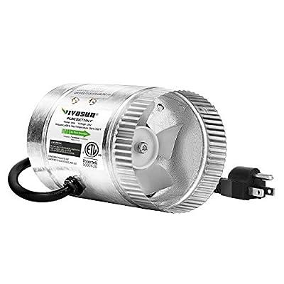 VIVOSUN Inline Duct Fan 100 CFM, HVAC Exhaust Intake Fan, Low Noise & Extra Long 5.5' Grounded Power Cord