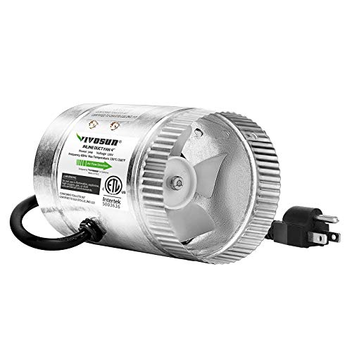VIVOSUN 4 inch Inline Duct Fan 100 CFM, HVAC Exhaust Intake Fan, Low Noise & Extra Long 5.5' Grounded Power Cord