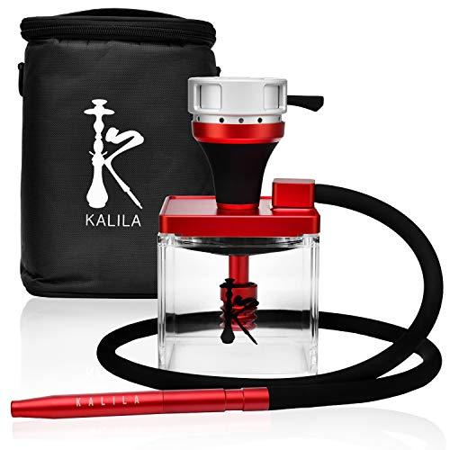 KALILA Premium Shisha für zuhause oder to go - Komplett-Set inklusive Tabak-Bowl + Heat Management Device + Tauchrohr + Diffusor + Schlauch + Mundstück und Tasche für Transport - rot