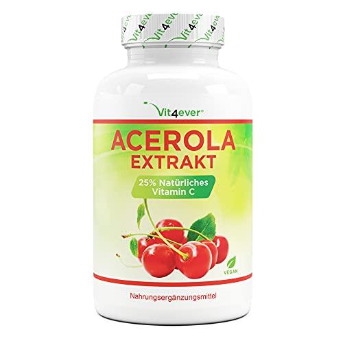 Acérola en gélules - Vitamine C naturelle - 240 gélules - Fortement dosé avec 1500 mg d'extrait d'acérola par dose quotidienne - Testé en laboratoire - Sans additifs indésirables - Végétalien