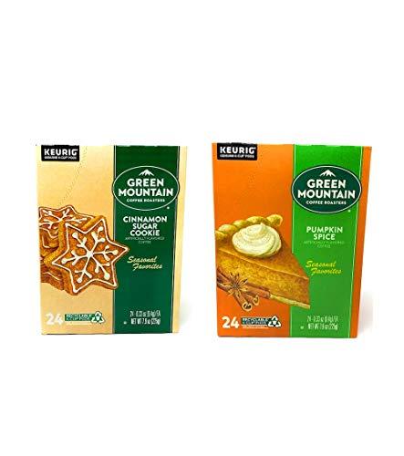 Green Mountain K Cups Seasonal Variety Pack of 2 Flavors - Cinnamon Sugar Cookie and Pumpkin Spice - Pack of 48 K Cups - 24 K Cups Per Flavor - For Use of Keurig Coffee Makers