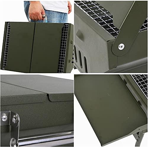 41RWBH87JaS. SL500  - WENYOG BBQ Grill Mini-zusammenklappbarer tragbarer Grill-Camping im Freiengrill-Ständer-Klappkohle-BBQ-Grillgitter-Grillzubehör Werkzeuge Faltbarer Grill (Color : Green Grill)