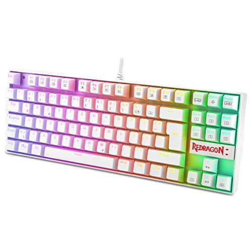 Redragon K552 Mechanische Gaming Tastatur RGB Beleuchtet 60{c89d778cdea63f3ab9ea1eff2b18467e3fbf78f11d04103c16b21aadeaf33505} Mini TKL Keyboard mit Rote Schalter 87 Tasten für PC Gaming, DE QWERTZ (Weiß)