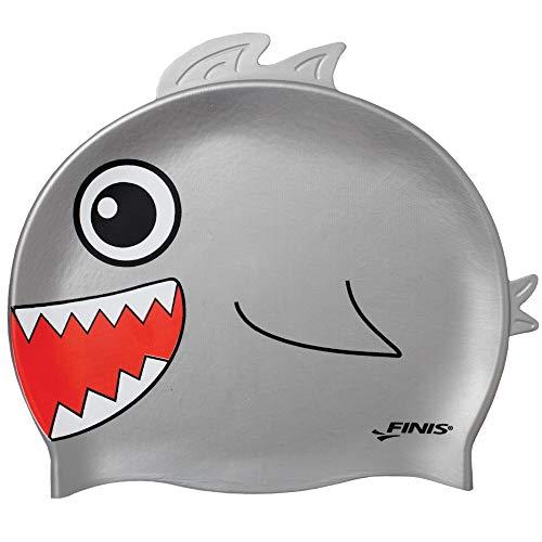 Finis Kinder Swim Cap Silicone Fun-Shark Head Caps, Gray