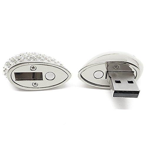 Gioielli Chiavetta USB 8GB Cuore di Metallo di Memoria usb con Cordino Argento (8GB-Argento)