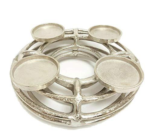 Adventskranz Silber aus Metall, 30cm, rund, kerzenhalter, weihnachtsdeko, tischdeko, kerzenkranz