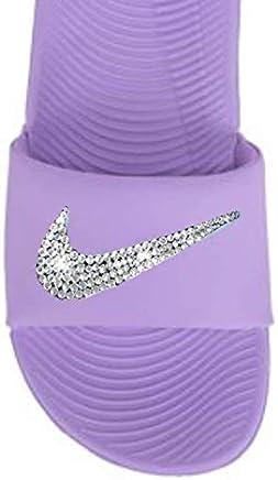 Women s NIKE Kawa SLIDES with Swarovski Crystals PURPLE Color Custom  Bedazzled Slip On Sandal Shoes 4bf79fdf6