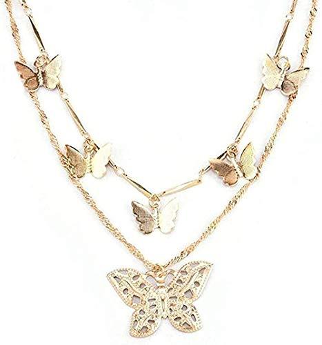 Liuqingzhou Co.,ltd Collar Collar B Gargantilla de Oro para Mujer Collar con Cadena de Oro Colgante de Mariposa Hueca Collar de múltiples Capas Regalo