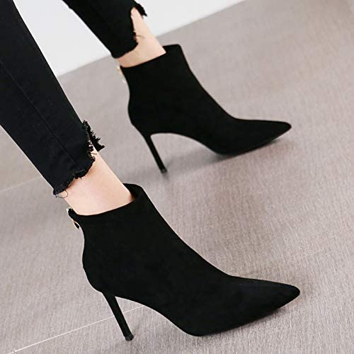 HRCxue zapatos de la Corte Temperamento Suede Moda Puntiagudos Tacones de Aguja versátil Cremallera Trasera Botines Beige mujeres