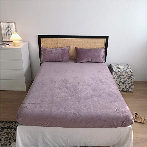 LCFCYY Single Fitted Sheet ,Thick warm flannel bedspread for autumn winter, coral fleece mattress protector single double king size-purple_150*200cm