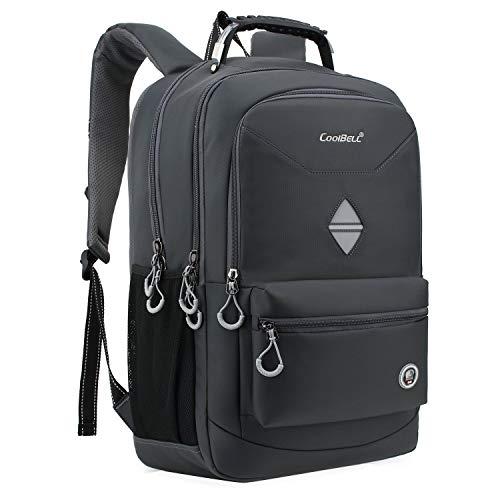 CoolBELL 18,4 Zoll Rucksack Laptop Tasche Reise Rucksack/wasserdicht Schulrucksack Wandern Knapsack Backpack/Schützende Tagesrucksack passen 15-17,3 Zoll Laptop für MacBook/Herren(Grau)