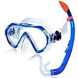 AQUAZON Korfu Set boccaglio di Alta qualità, Set per Immersioni, Set da Nuoto, Occhiali da Sub in Vetro temperato, boccaglio con Parte Superiore semiasciutta per Bambini dai 7 ai 14 Anni, Colour:Blue