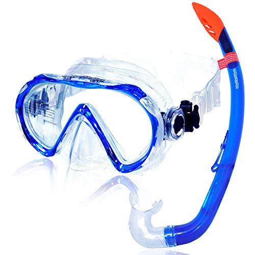 AQUAZON Korfu Equipo de esnórquel, Equipo de Buceo, Equipo de natación, Gafas de esnórquel con Cristal Templado, para niños, Adolescentes de 7 a 14 años.