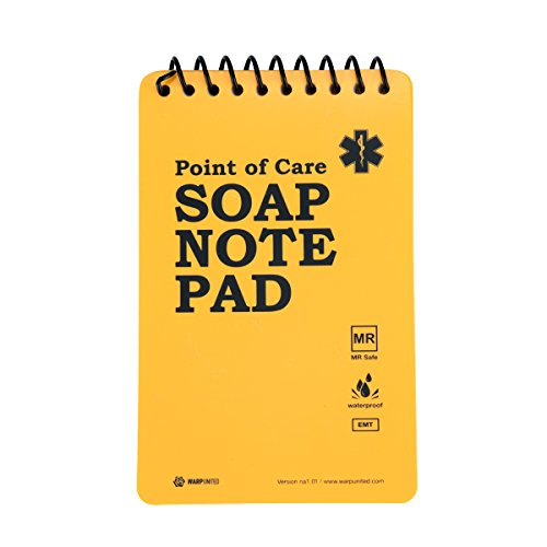 12-Pack Full Waterproof EMT Point of Care SOAP Note Notepad 6' x 3-3/4' MRI Safe Disinfectable Version na1.02