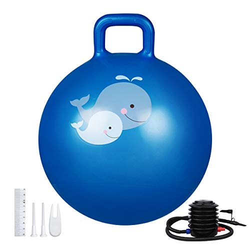 Trideer Kids Hopper Ball Multi-Function, Jump Ball, Bouncy Ball with Handles, Balance Ball and Ball Chair for Children Age 3-12, Air Pump Included (Royal Blue, S)