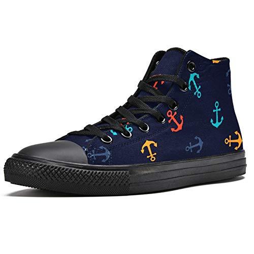 Zapatillas altas para hombre con anclas coloridas y con cordones, (Multi color), 41.5 EU