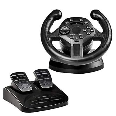 MagiDeal Simulator Racing Steering Wheel for PS3/PC Game Steering Wheel USB Vibration