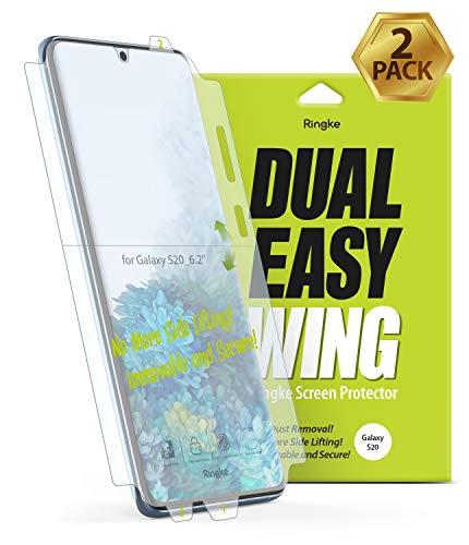 Ringke Dual Easy Film [2er Pack] Kompatibel mit [Galaxy S20] Hochauflösender [Anti-Smudge-Beschichtung] Einfache Anwendung Schutzfolie