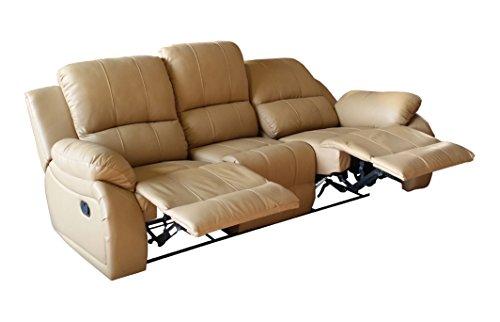Mapo Möbel Voll-Leder Fernsehsofa Relaxsofa 3-Sitzer 5129-3-107
