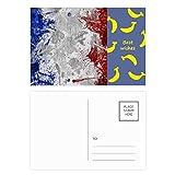Bandera de Francia País Ciudad Cultura Banana Postal Set Tarjeta de agradecimiento Mailing Side 20 piezas