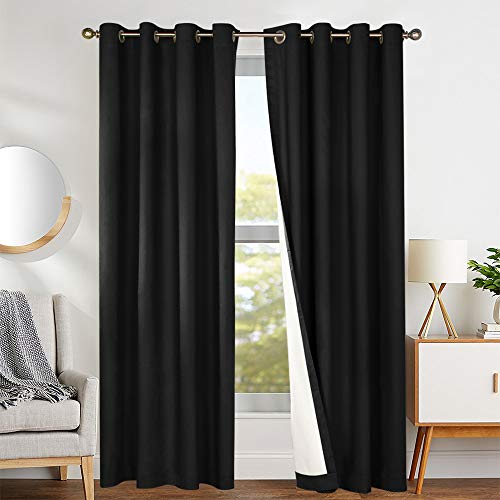 jinchan Bedroom Thermal Blackout Curtains, Energy Saving Lined Drapes for Living Room 84 Inch Length, Black Window Curtain Grommet Top, Sold by Pair
