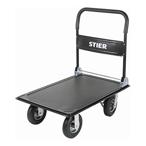 STIER Plattformwagen, klappbar, Tragkraft 350kg, mit Luftbereifung, Transporthilfe mit Lenkrollen, Rollwagen mit Antirutsch Beschichtung, Feststellbremse
