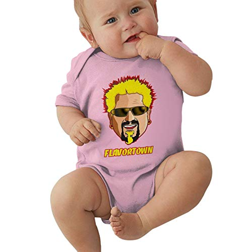 Lucky Stylemarket Baby Boys' Jersey Bodysuit, Baby Short Sleeve One-Piece Bodysuits American Restaurateur Guy Fieri - Flavortown Baby Onesie Bodysuit, Infant Romper Suit Cotton Shirts 0-3 Months Pink