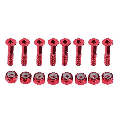 Unbekannt 8 x Schrauben und Muttern für Skateboards, Schrauben Länge: ca. 2,54 cm - rot