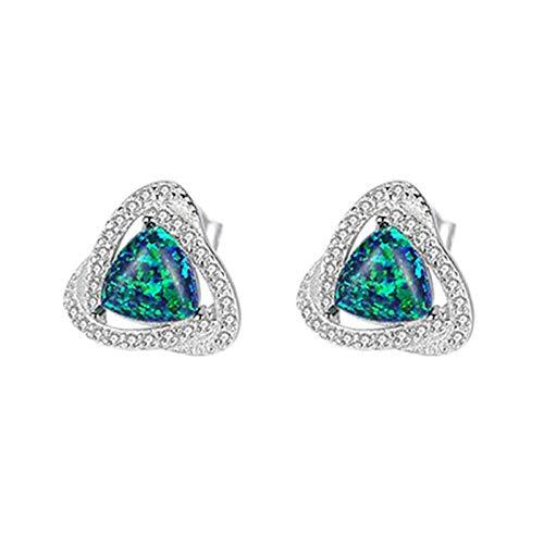 Beydodo Pendientes Mujer Plata 925 de Ley,Pendientes Mujer Verde Triángulo con Ópalo Verde
