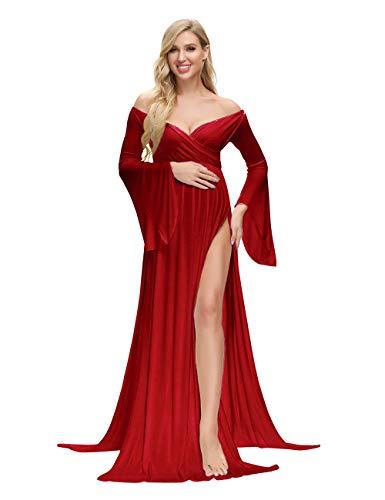 VSNOW Maternity Off Shoulder Long Flare Sleeve Maxi Photography Dress Side Split for Photo Shoot Prop Burgundy