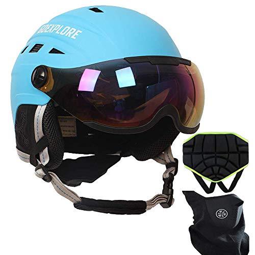 LIUJIE Skihelm Sneeuw Sport Hoofd bescherming, lichte halve helm motorhelm volwassen kind skateboard helmen met gratis ski-masker en heupbeschermer