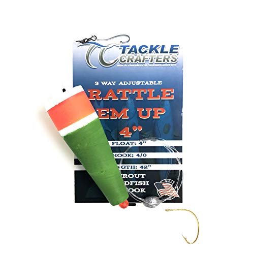 Rattle Em Up - Adjustable Popping Cork Bobber Rig with Weight and Hook - Saltwater Freshwater Fishing Gear and Tackle Popper Float Set - 5 Pack
