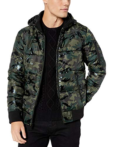 GUESS Men's Print Hooded Puffer Jacket, Olive Camo, Small
