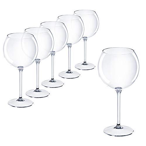 Calice da vino rosso Aperol Spriz Hugo Bicchiere da vino in plastica 40 cl. campeggio Outdoor Trasparente Set 6 Pezzi di DoimoFlair