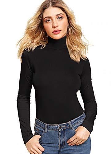 VIIOO Womens Basic Plain Soft Cotton Turtleneck Long Sleeve T Shirt(Black,L)