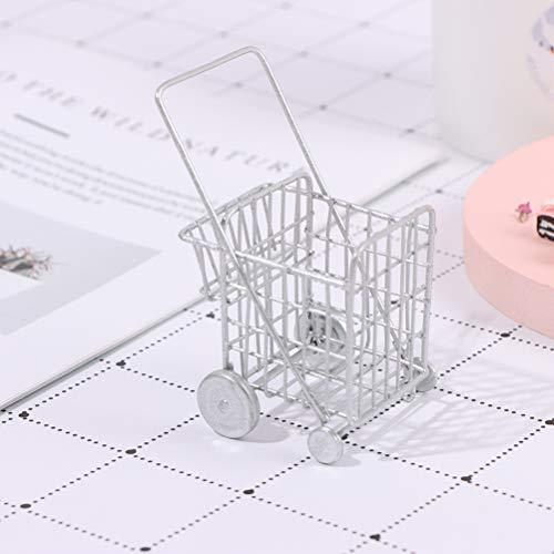 NIHAOYA 1 PC 1:12 casa de muñecas Mini carrito de la compra Modelo de la utilidad del carrito de compras en miniatura de casa de muñecas Muebles