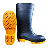 L&Y PLKOD Steel Toe Rubber Work Boots for Men - Safety Toe Rain Boots for Men - Waterproof Boots for Men - PVC Security Mud Boots - Oils, Acids and Mild Chemicals Resistant (Black, Numeric_11)