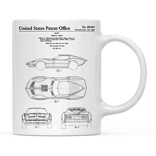 N\A Aviones, Trenes, automóviles, Taza de café con Estampado de Patente, cumpleaños, Corvette 1966 Mako Shark II, Taza de Patente, 1 Paquete, Taza Corvette, decoración clásica para coch