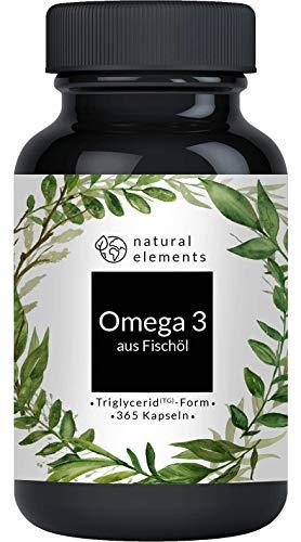 Omega 3 (365 Kapseln) - 1000mg Fischöl pro Kapsel mit EPA und DHA (in Triglycerid-Form) - Laborgeprüft, aufwendig aufgereinigt und aus nachhaltigem Fischfang