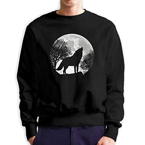 Howling Wolf Moon Pullover Sweater Men's Pure Cotton Crewneck Long Sleeve Sweatshirt Teens Loose Casual Hoodies Black
