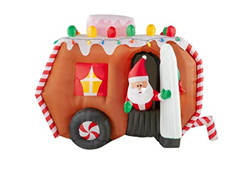 Animated Santa in Gingerbread Camper Christmas Inflatable by Gemmy
