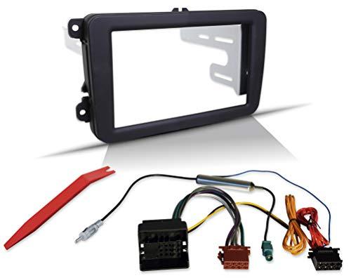 2-Din Einbauset für VW SEAT Skoda mit Rubber-Touch Radioblende Radioadapter Quadlock auf ISO, Antennenadapter mit Phantomeinspeisung (Profi-Blende)