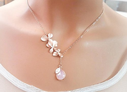 Amazon Com Blush Pink Rose Gold Necklace Orchid Necklace Flower Personalized Necklace Clear Champagne Peach Sapphire Navy Bridesmaids Gift Handmade