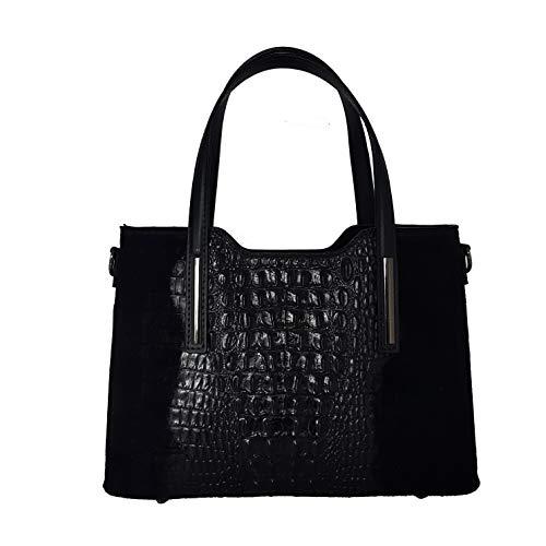 Toutestbelle - Leren tas met schouderriem croco mat - Handtas - Dames - Zwart