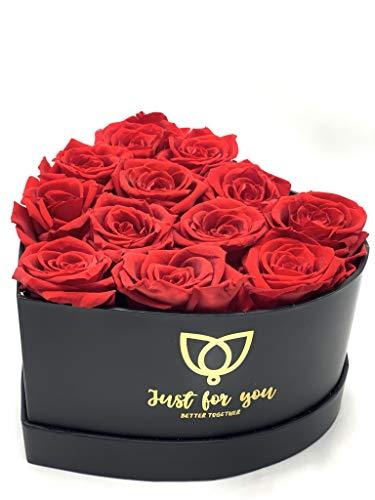 12 Rosas Rojas preservadas en Caja Regalo Corazón Negra - Rosas eternas San Valentín - Flores preservadas con Tarjeta DEDICATORIA Personalizada