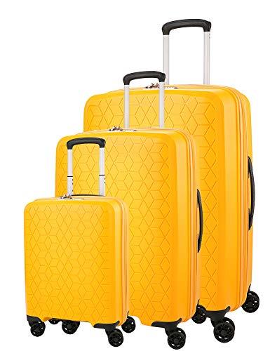 Verage Diamond 4-Zwillingsrollen Koffer-Set 3 teilig, TSA-Schloss, erweiterbar, PP Hartschale Trolley-Set S M L mit Handgepäck, S-55cm M-69cm, L-78cm, Gelb