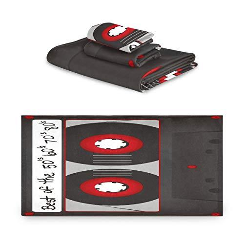 Pac Mac - Juego de 3 toallas de algodón vintage retro cinta de casete patrón toallas súper suaves (1 toalla de baño, 1 toalla de mano, 1 toalla) para baño hotel y spa