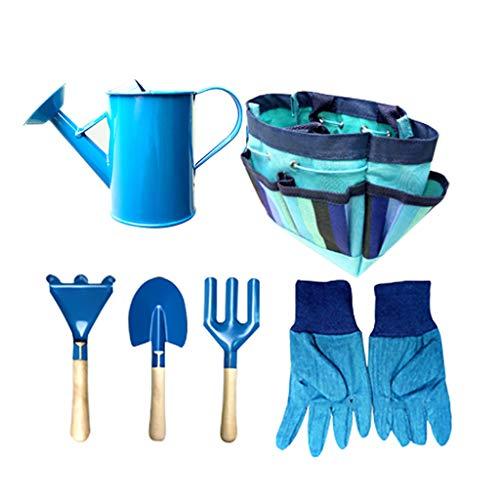 DEtrade Gartengeräteset für Kinder Spielzeugschaufel mit Tragetasche Art Garten Werkzeug Garten Gartenarbeit Lieferungen (Blue)