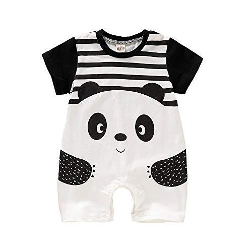FELZ Bebé Mono,Verano Verano Mameluco de Manga Corta Estampado Panda a Rayas Mono Conjuntos Moda Linda Fiesta De Cumpleaños Regalo Verano Pijamas Bebe niña niño