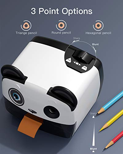 Electric Pencil Sharpener-Heavy Duty Helical Blade-Auto Stop Features For Kids, Students and Artists, Ideal for Home, School and Ofiice use, Cute, Yellow (Black&White) Photo #4